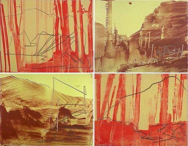 James Lavadour, Ghost Camp, 2002. Variable edition lithographs with graphite pencil on paper.