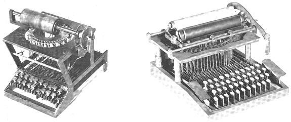 Experimental Sholes & Glidden typewriters circa 1873