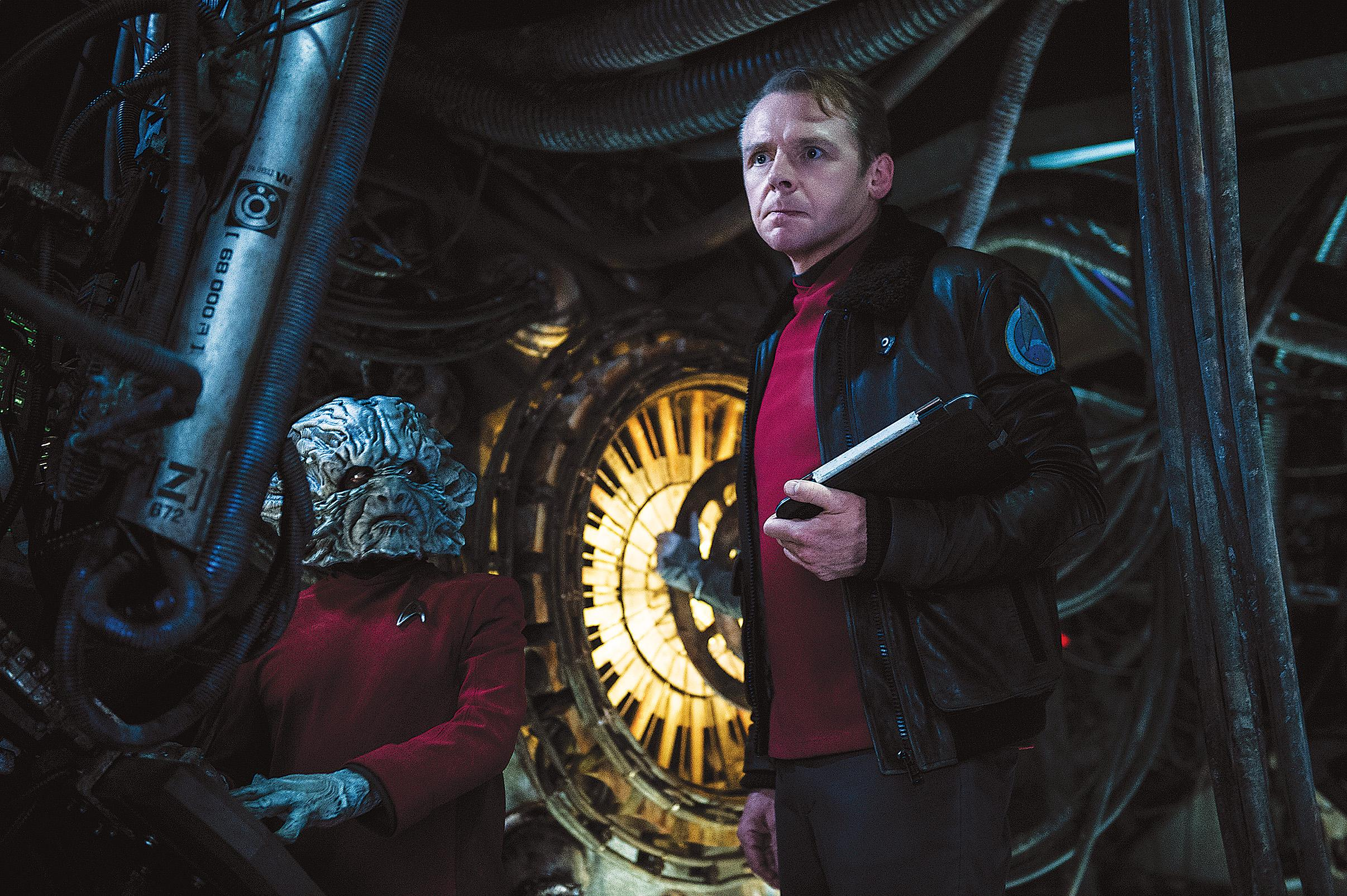 Deep Roy and Simon Pegg