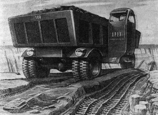 Dump truck of the future designed by Lurelle Guild (1944)