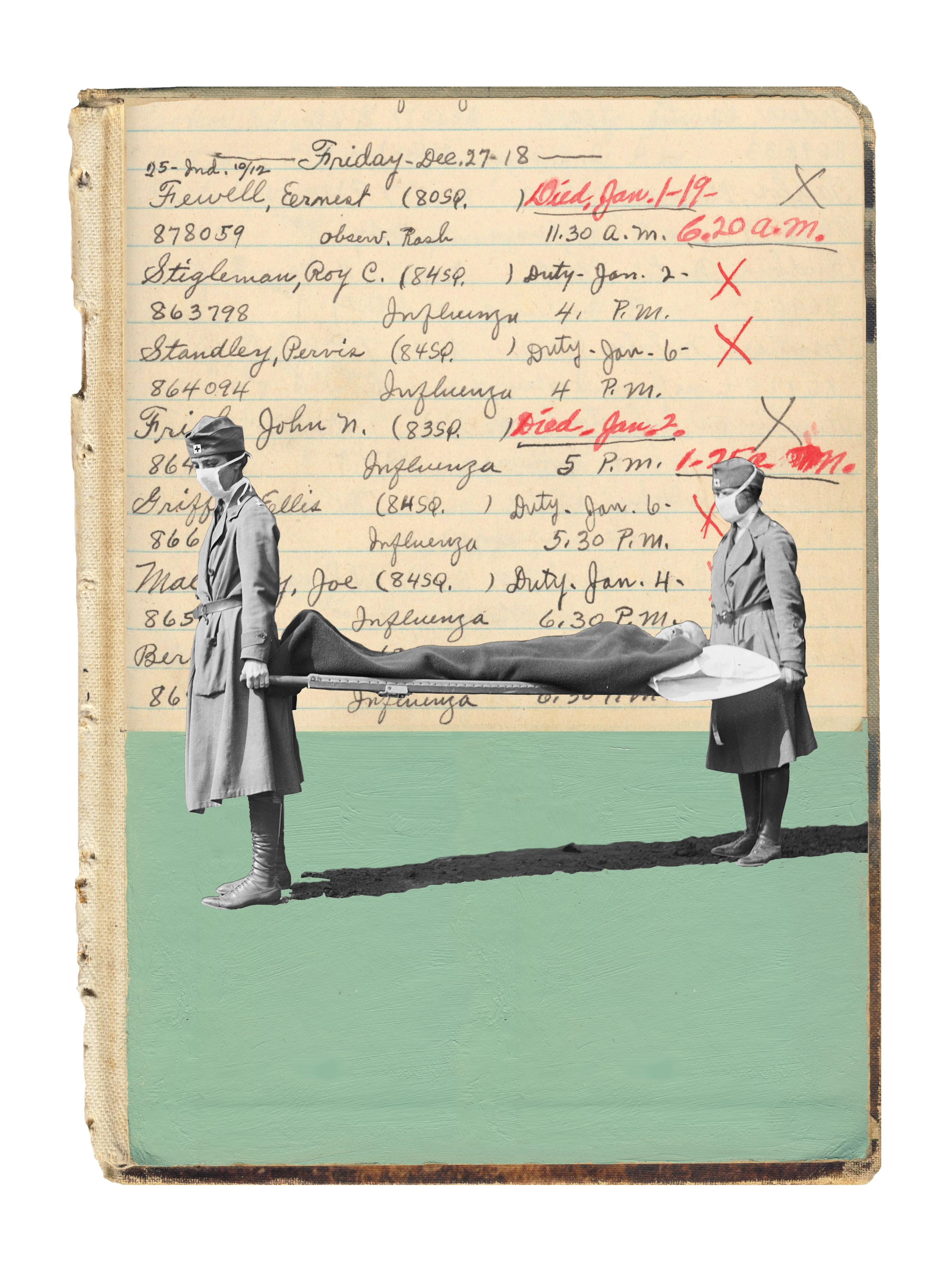 Red Cross workers carried a stretcher in 1918; names fill an Army hospital ledger.