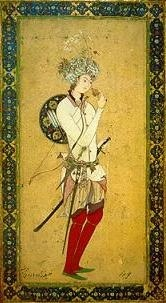 A romantic depiction of a wandering poet from the medieval period, from a later manuscript.