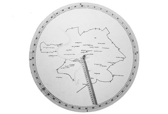 A recreation of Alberti's map of Rome, using the coordinates set forth in Descriptio Urbis Romae