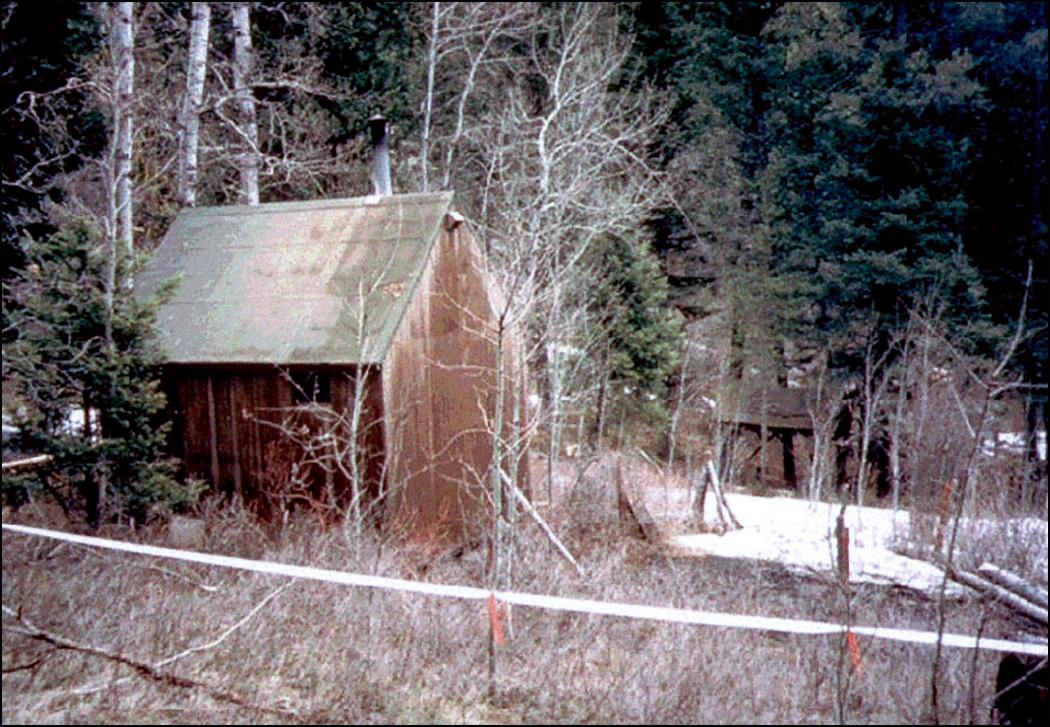 The cabin in Montana where Kaczynski lived at the time of his arrest.