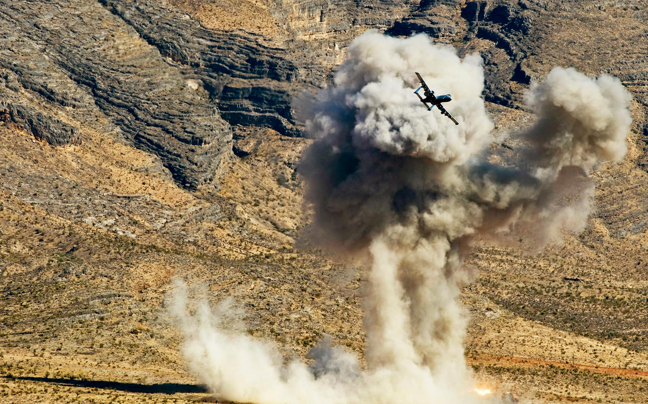 A-10 fires an AGM-65 Maverick missile