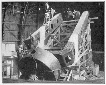Assembling the 100-inch Hooker Telescope.