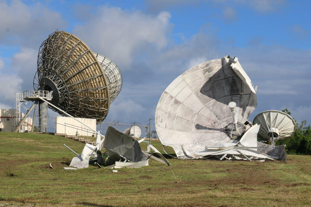 Destroyed communication satellite in Humacao, Puerto Rico