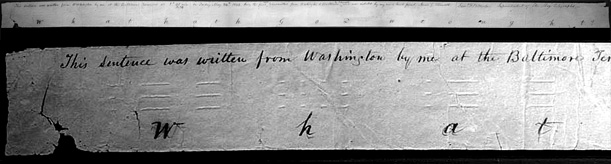 An image of the first telegraph message sent from Baltimore to D.C. in 1844