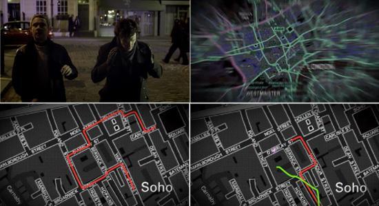 Sherlock Holmes and John Watson chase a taxi through London