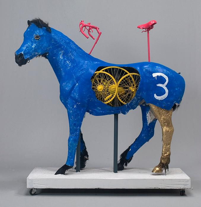 "BK Adams' ""Blue Horse,"" 2009, (foil, acrylic paint)"