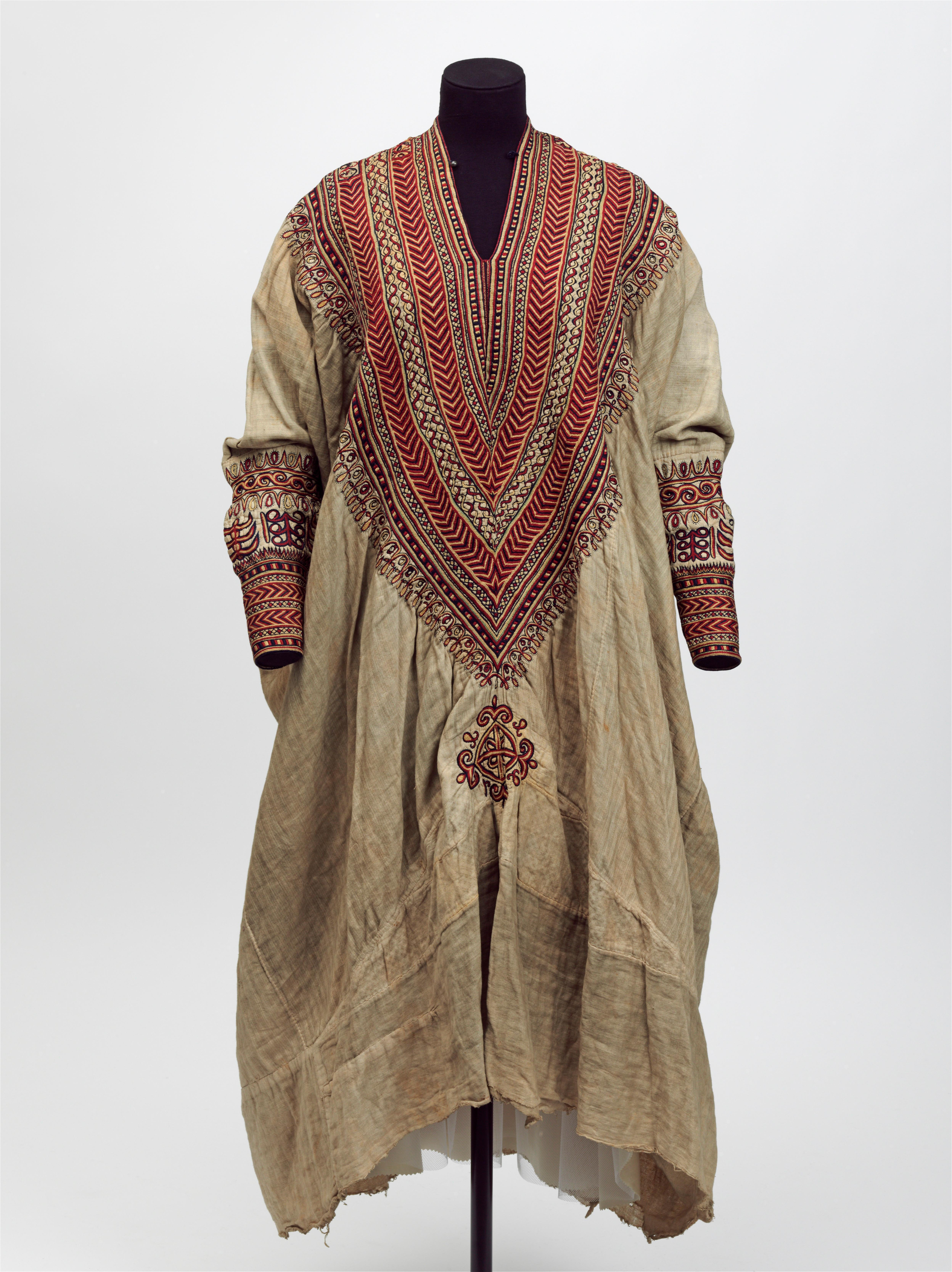 Cotton dress embroidered with silk,  said to have belonged to Queen Woyzaro Terunesh, made in the 1860s, given by the Secretary of State for India (c) Victoria and Albert Musuem, London.jpg