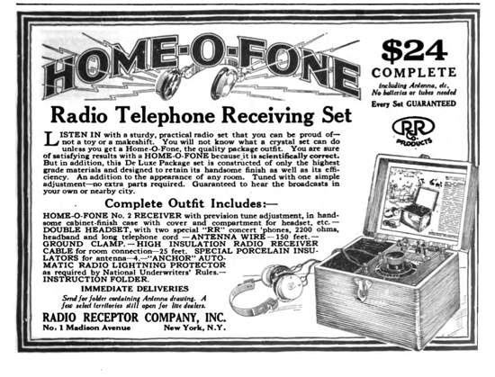 "Advertisement for a ""Home-O-Fone"" crystal radio"