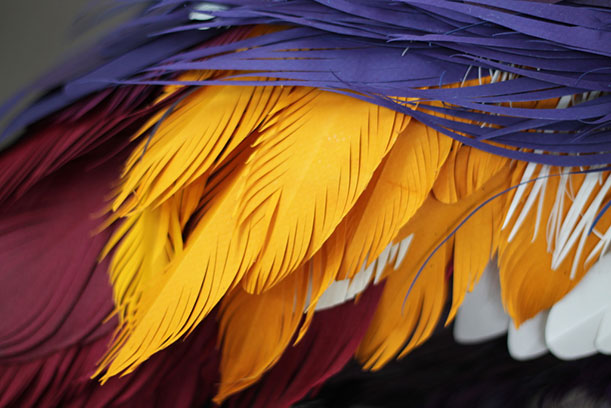A close look at the feathers on Herrera's sculpture of a crane.