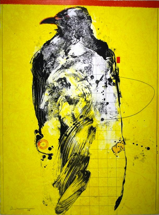 Rick Bartow, Facing Left Raven, 2008. Monoprint on paper.