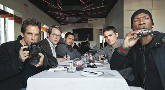 L-R: Ben Stiller, Matthew Broderick, Michael Peña, Casey Affleck, Eddie Murphy in Tower Heist.