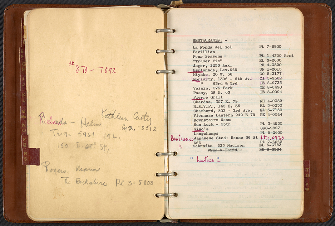Dorothy Liebes' address book