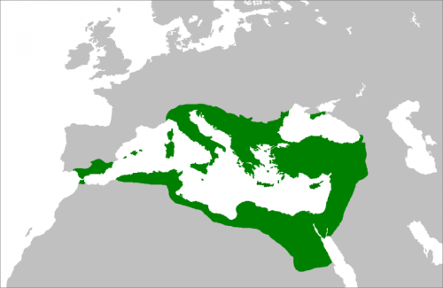 The Byzantine Empire at its height under the Emperor Justinian in c. 560