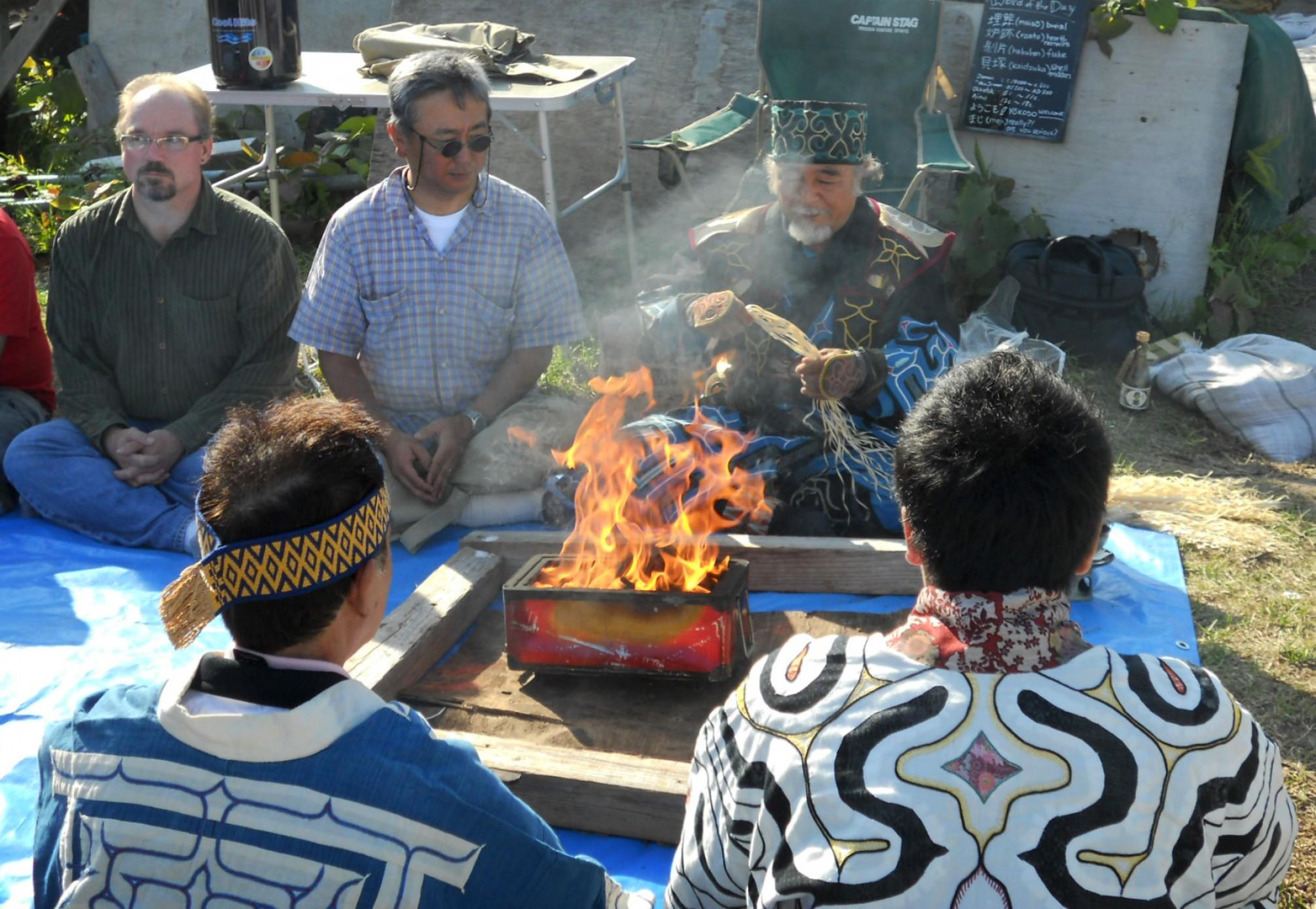 Ainu elders perform a ceremony
