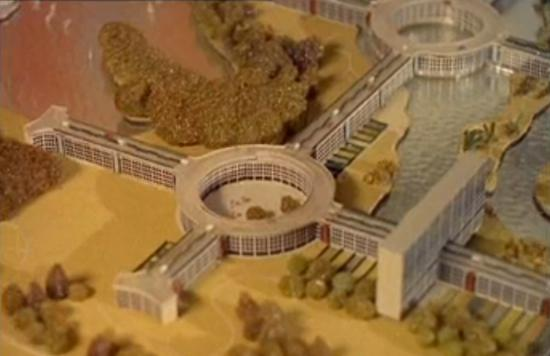 Close-up of the scale model Motopia city of the future