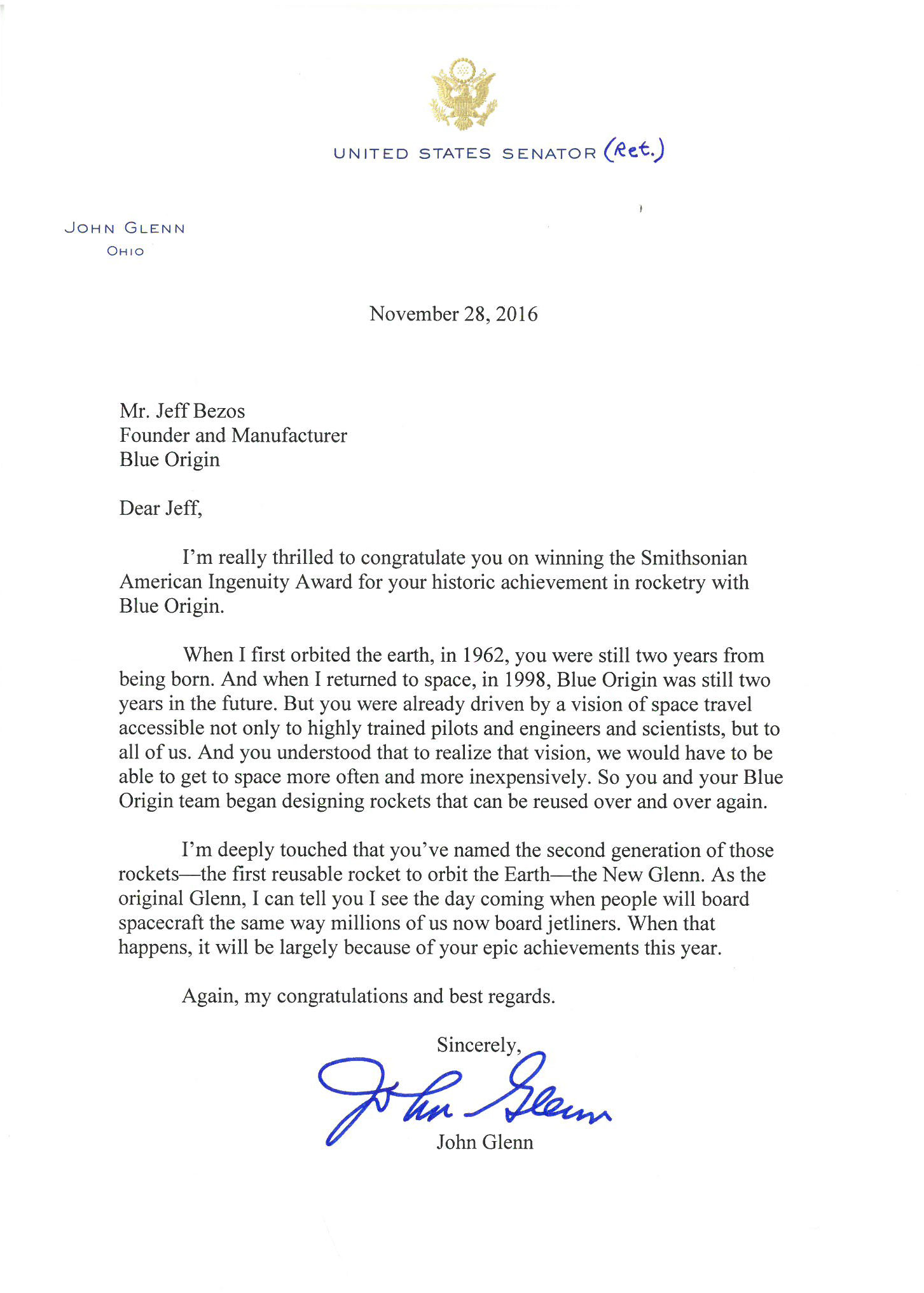 Read The Letter Written By John Glenn To Honor Jeff Bezos For Blue
