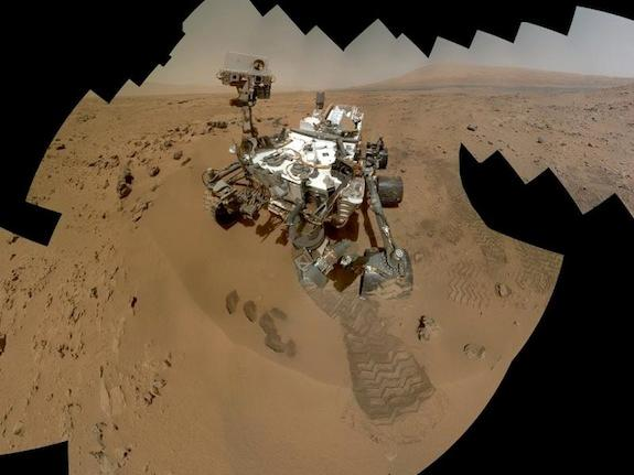 A composite image of self-portraits taken by Curiosity on Mars.