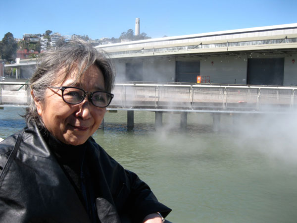 Fujiko Nakaya oversees a test run of her fog sculpture.