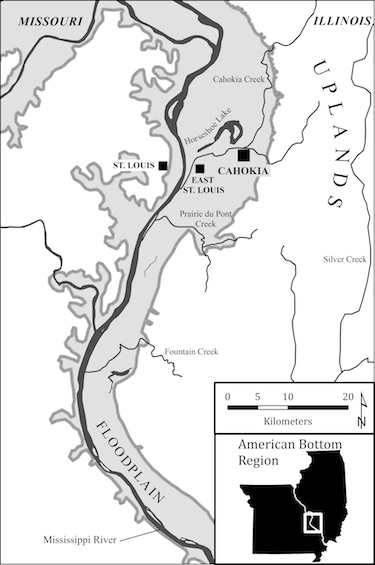 Location of Cahokia, East St Louis, and St Louis sites in the American Bottom