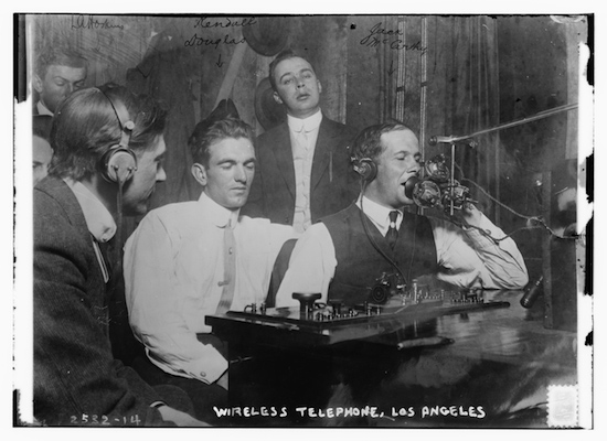 Men using radio technology circa 1910-1915, called Wireless Telephone at the time