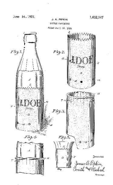 A design from the 1920s for cold beverages in glass bottles.